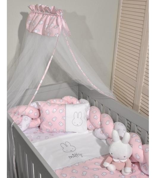 Miffy Σετ προίκας μωρού 7τμχ με κουνουπιέρα για ίσιο σίδερο, Ροζ