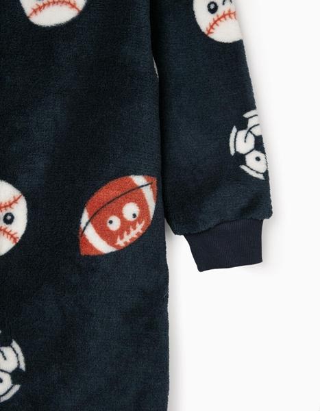 Zippy Ολόσωμη Fleece Φόρμα Για Αγόρι Με Μπάλες, Μπλέ