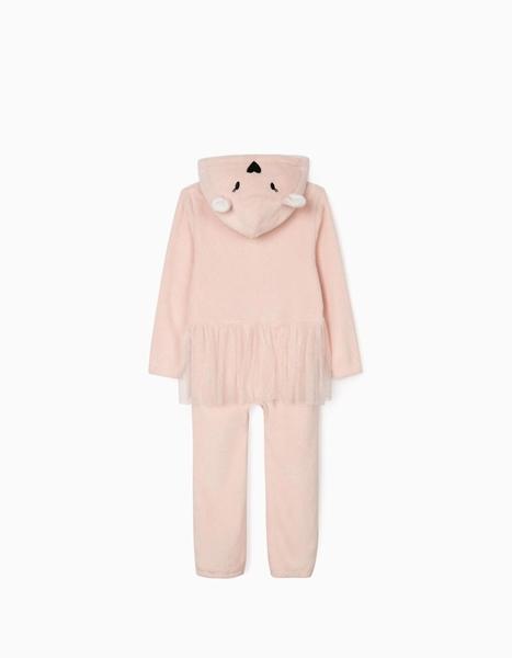 Zippy Ολόσωμη Fleece Φόρμα Για Κορίτσι Με Τούλι, Ροζ