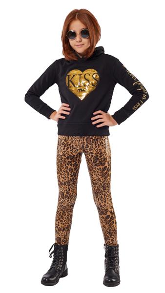 Εβίτα Fashion Σετ Παντελόνι Κολάν Και Φούτερ Με Κουκούλα Kiss Me, Μαύρο