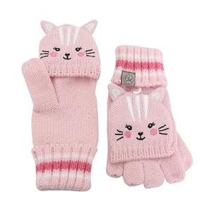 FlapJackKids Πλεκτά Γάντια Cat 4-6 ετών, Ροζ