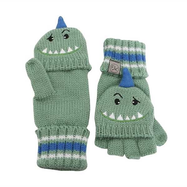 FlapJackKids Πλεκτά Γάντια Dino 4-6 ετών, Πράσινα