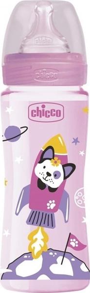 Chicco Μπιμπερό Πλαστικό Well Being Ροζ Διαστημόπλοιο Θ.Σ. 4m+ 330ml
