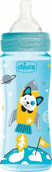 Chicco Μπιμπερό Πλαστικό Well Being Σιελ Διαστημόπλοιο Θ.Σ. 4m+ 330ml